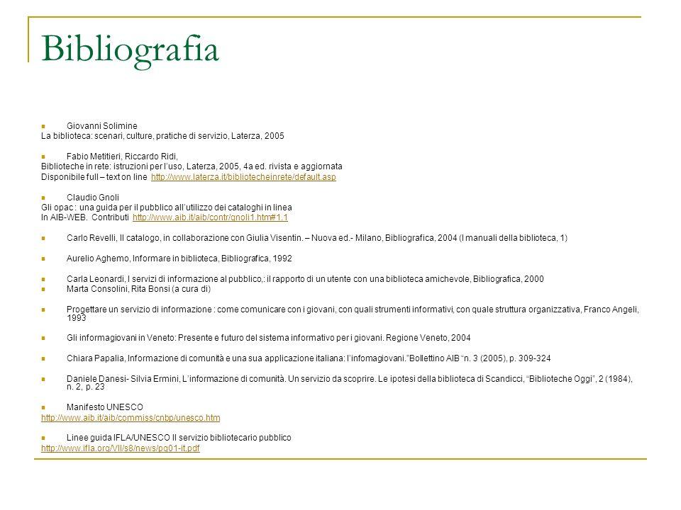 Bibliografia Giovanni Solimine La biblioteca: scenari, culture, pratiche di servizio, Laterza, 2005 Fabio Metitieri, Riccardo Ridi, Biblioteche in ret