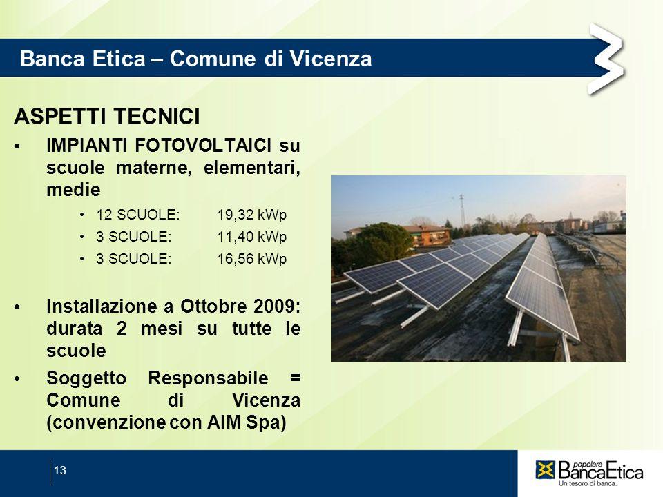 13 Banca Etica – Comune di Vicenza ASPETTI TECNICI IMPIANTI FOTOVOLTAICI su scuole materne, elementari, medie 12 SCUOLE: 19,32 kWp 3 SCUOLE:11,40 kWp