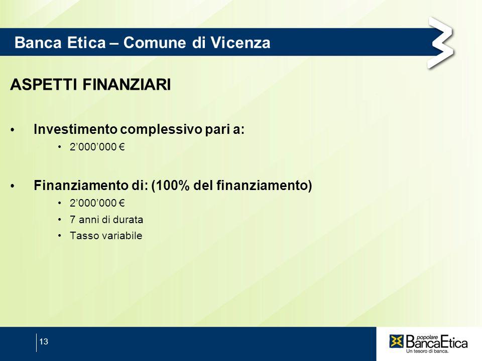 13 Banca Etica – Comune di Vicenza ASPETTI FINANZIARI Investimento complessivo pari a: 2000000 Finanziamento di: (100% del finanziamento) 2000000 7 an