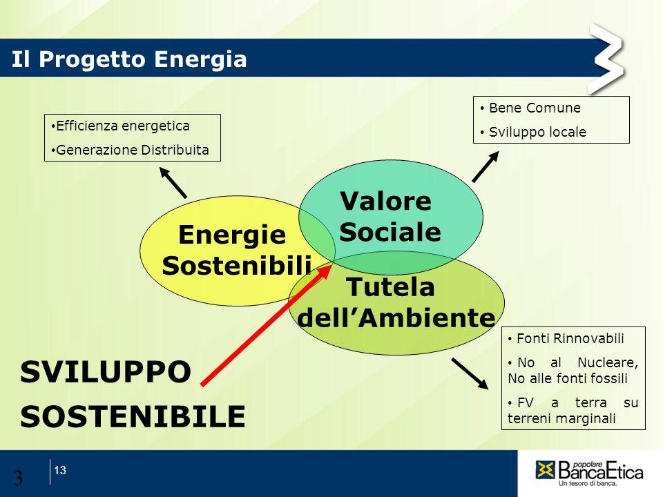 13 3 Efficienza energetica Generazione Distribuita Fonti Rinnovabili No al Nucleare, No alle fonti fossili FV a terra su terreni marginali Bene Comune