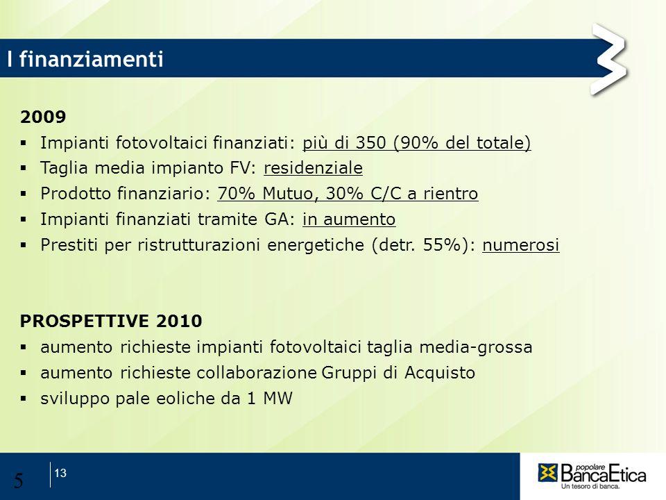 13 5 I finanziamenti 2009 Impianti fotovoltaici finanziati: più di 350 (90% del totale) Taglia media impianto FV: residenziale Prodotto finanziario: 7