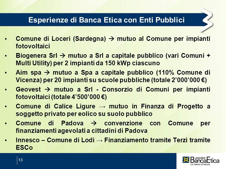 13 Esperienze di Banca Etica con Enti Pubblici Comune di Loceri (Sardegna) mutuo al Comune per impianti fotovoltaici Biogenera Srl mutuo a Srl a capit