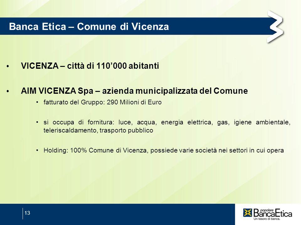 13 Banca Etica – Comune di Vicenza VICENZA – città di 110000 abitanti AIM VICENZA Spa – azienda municipalizzata del Comune fatturato del Gruppo: 290 M