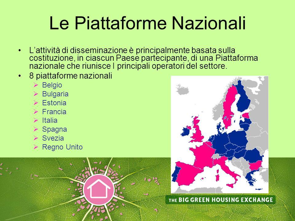 Le Piattaforme Nazionali Lattività di disseminazione è principalmente basata sulla costituzione, in ciascun Paese partecipante, di una Piattaforma nazionale che riunisce I principali operatori del settore.
