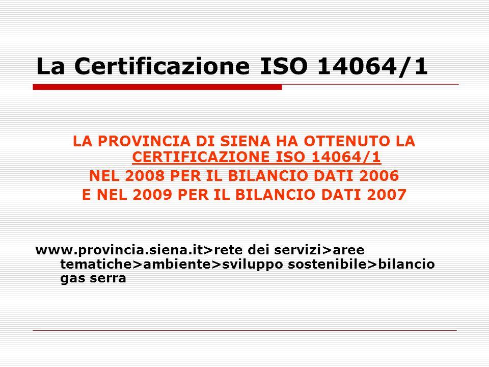La Certificazione ISO 14064/1 LA PROVINCIA DI SIENA HA OTTENUTO LA CERTIFICAZIONE ISO 14064/1 NEL 2008 PER IL BILANCIO DATI 2006 E NEL 2009 PER IL BIL