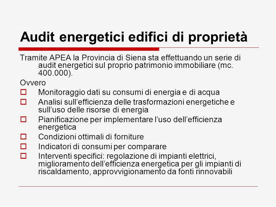 Audit energetici edifici di proprietà Tramite APEA la Provincia di Siena sta effettuando un serie di audit energetici sul proprio patrimonio immobilia