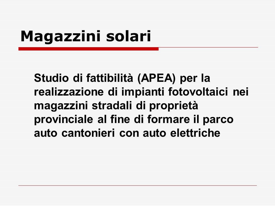 Magazzini solari Studio di fattibilità (APEA) per la realizzazione di impianti fotovoltaici nei magazzini stradali di proprietà provinciale al fine di