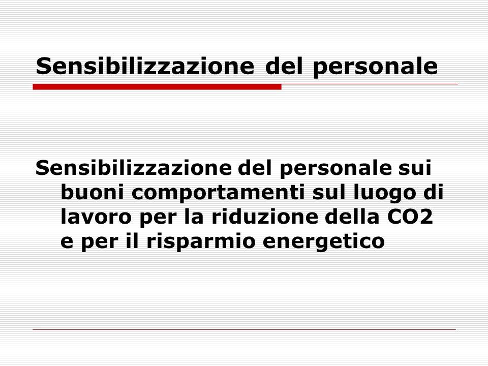 Sensibilizzazione del personale Sensibilizzazione del personale sui buoni comportamenti sul luogo di lavoro per la riduzione della CO2 e per il rispar