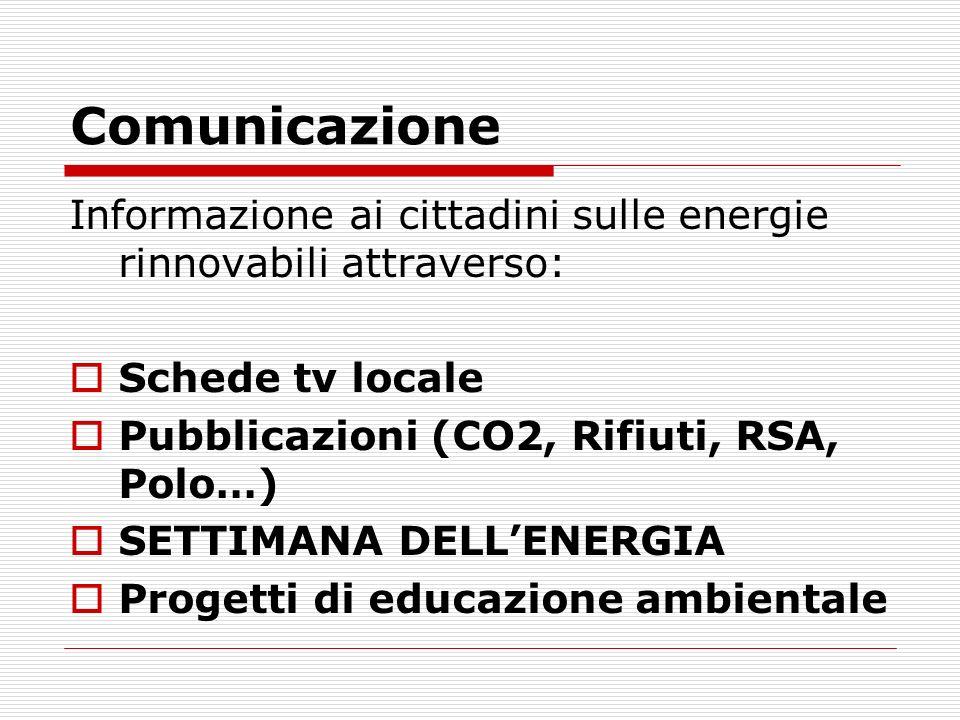 Comunicazione Informazione ai cittadini sulle energie rinnovabili attraverso: Schede tv locale Pubblicazioni (CO2, Rifiuti, RSA, Polo…) SETTIMANA DELL