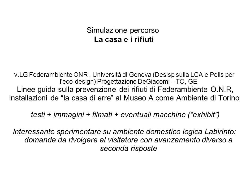 Simulazione percorso La casa e i rifiuti v.LG Federambiente ONR, Università di Genova (Desisp sulla LCA e Polis per l'eco-design) Progettazione DeGiac