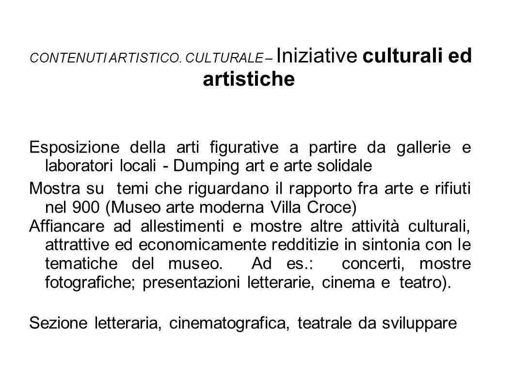 CONTENUTI ARTISTICO. CULTURALE – Iniziative culturali ed artistiche Esposizione della arti figurative a partire da gallerie e laboratori locali - Dump