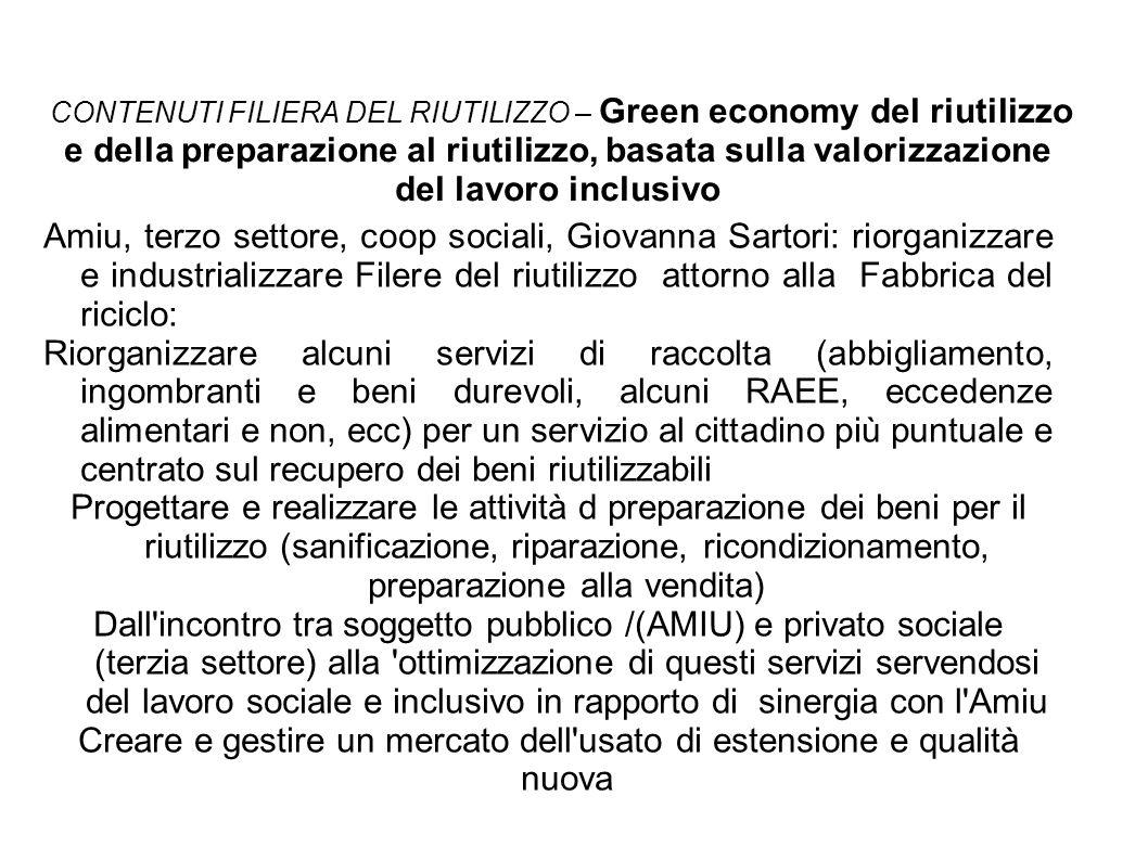 CONTENUTI FILIERA DEL RIUTILIZZO – Green economy del riutilizzo e della preparazione al riutilizzo, basata sulla valorizzazione del lavoro inclusivo A