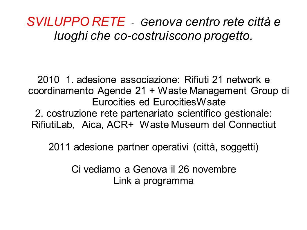 SVILUPPO RETE - G enova centro rete città e luoghi che co-costruiscono progetto. 2010 1. adesione associazione: Rifiuti 21 network e coordinamento Age