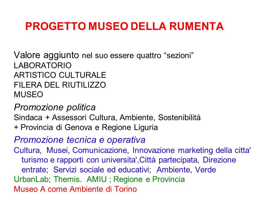PROGETTO MUSEO DELLA RUMENTA Valore aggiunto nel suo essere quattro sezioni LABORATORIO ARTISTICO CULTURALE FILERA DEL RIUTILIZZO MUSEO Promozione pol