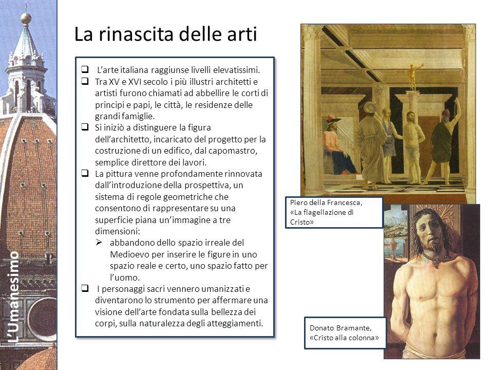 LUmanesimo Filippo Brunelleschi (1377-1446): dà inizio allarchitettura rinascimentale completando la costruzione dellimmensa cupola di S.