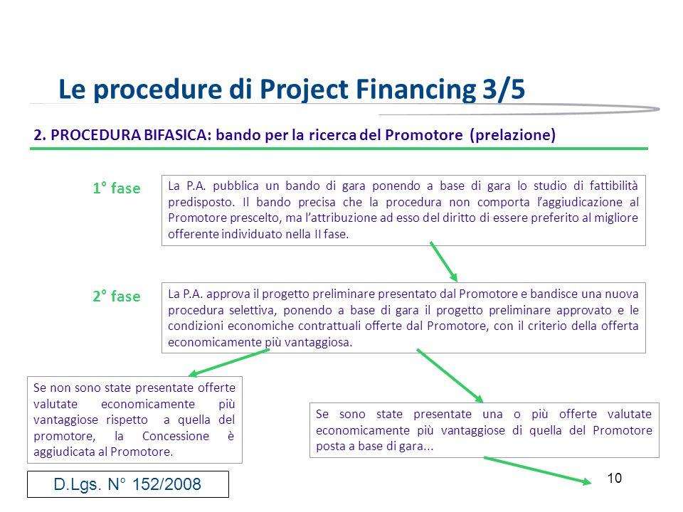 10 Le procedure di Project Financing 3/5 2. PROCEDURA BIFASICA: bando per la ricerca del Promotore (prelazione) La P.A. pubblica un bando di gara pone