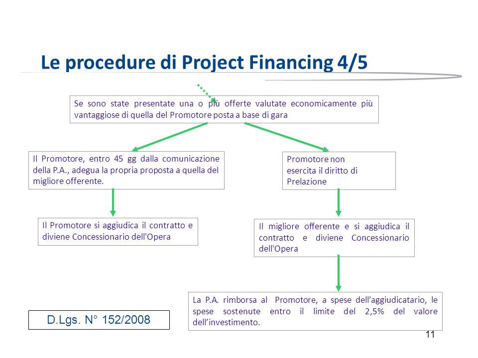 11 Le procedure di Project Financing 4/5 Se sono state presentate una o più offerte valutate economicamente più vantaggiose di quella del Promotore po