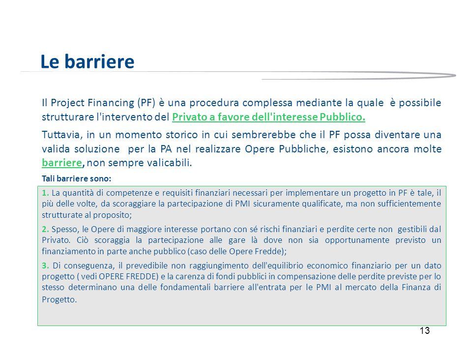 13 Le barriere Il Project Financing (PF) è una procedura complessa mediante la quale è possibile strutturare l'intervento del Privato a favore dell'in