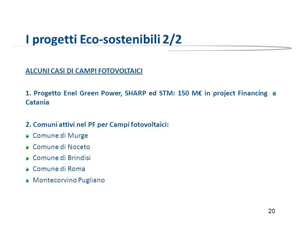 20 I progetti Eco-sostenibili 2/2 ALCUNI CASI DI CAMPI FOTOVOLTAICI 1. Progetto Enel Green Power, SHARP ed STM: 150 M in project Financing a Catania 2