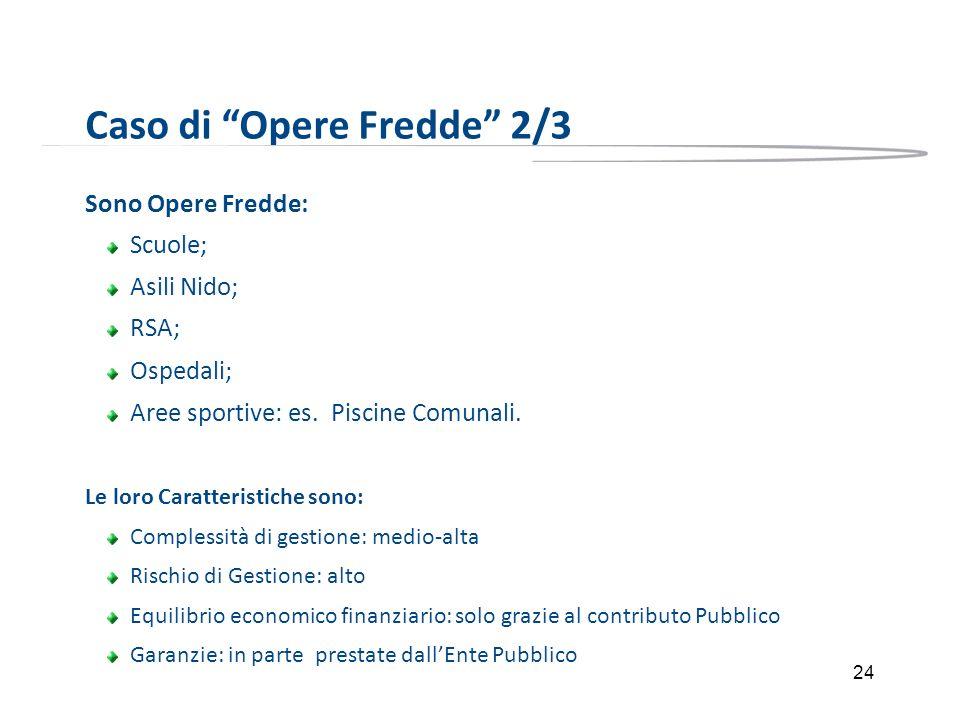 24 Caso di Opere Fredde 2/3 Sono Opere Fredde: Scuole; Asili Nido; RSA; Ospedali; Aree sportive: es. Piscine Comunali. Le loro Caratteristiche sono: C