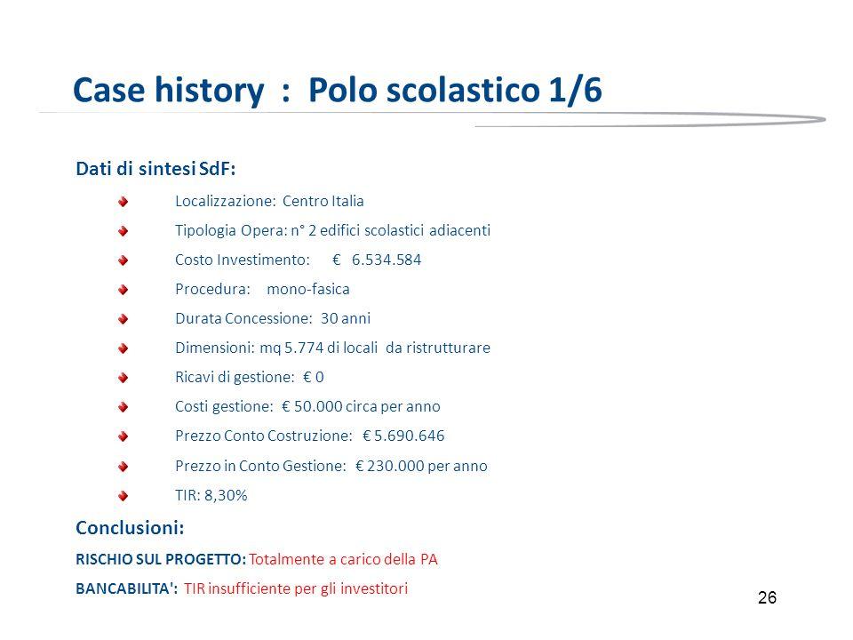 26 Case history : Polo scolastico 1/6 Dati di sintesi SdF: Localizzazione: Centro Italia Tipologia Opera: n° 2 edifici scolastici adiacenti Costo Inve