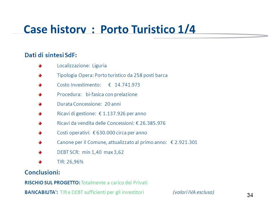 34 Case history : Porto Turistico 1/4 Dati di sintesi SdF: Localizzazione: Liguria Tipologia Opera: Porto turistico da 258 posti barca Costo Investime