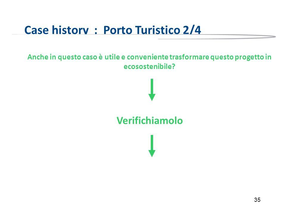 35 Case history : Porto Turistico 2/4 Anche in questo caso è utile e conveniente trasformare questo progetto in ecosostenibile? Verifichiamolo