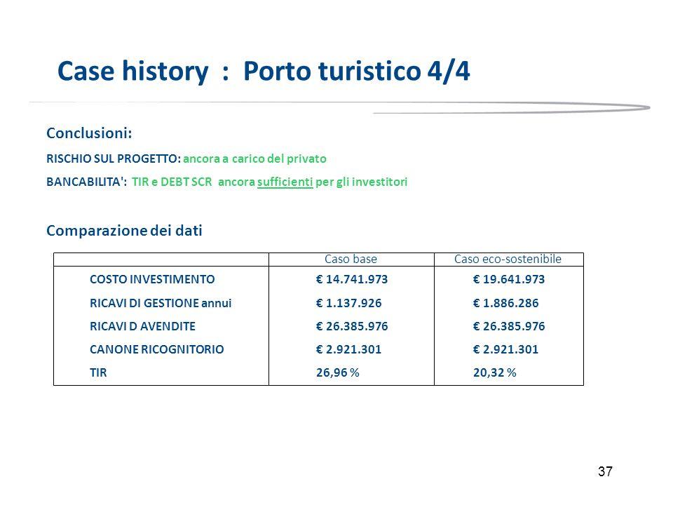 37 Case history : Porto turistico 4/4 Conclusioni: RISCHIO SUL PROGETTO: ancora a carico del privato BANCABILITA': TIR e DEBT SCR ancora sufficienti p