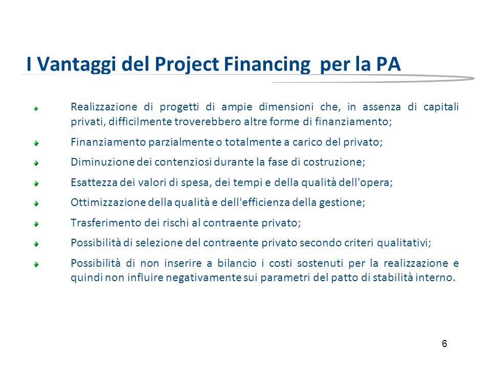 6 I Vantaggi del Project Financing per la PA Realizzazione di progetti di ampie dimensioni che, in assenza di capitali privati, difficilmente trovereb