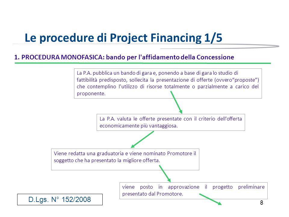 8 Le procedure di Project Financing 1/5 1. PROCEDURA MONOFASICA: bando per l'affidamento della Concessione La P.A. pubblica un bando di gara e, ponend