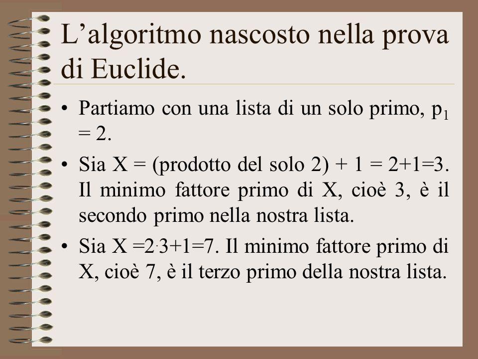Lalgoritmo nascosto nella prova di Euclide. Partiamo con una lista di un solo primo, p 1 = 2. Sia X = (prodotto del solo 2) + 1 = 2+1=3. Il minimo fat