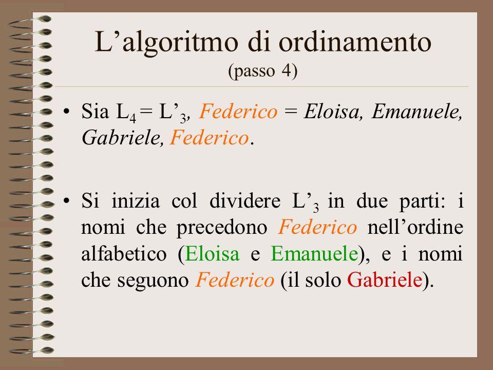 Lalgoritmo di ordinamento (passo 4) Sia L 4 = L 3, Federico = Eloisa, Emanuele, Gabriele, Federico. Si inizia col dividere L 3 in due parti: i nomi ch