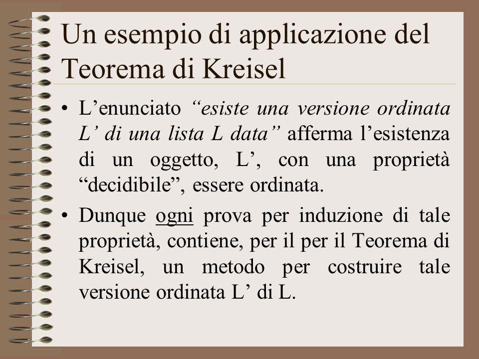 Un esempio di applicazione del Teorema di Kreisel Lenunciato esiste una versione ordinata L di una lista L data afferma lesistenza di un oggetto, L, c