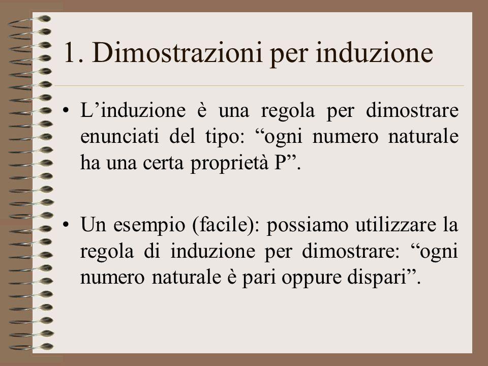 1. Dimostrazioni per induzione Linduzione è una regola per dimostrare enunciati del tipo: ogni numero naturale ha una certa proprietà P. Un esempio (f