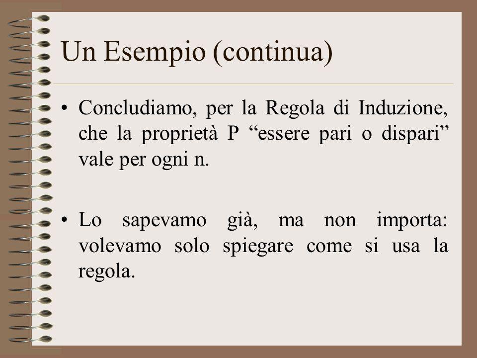 Un Esempio (continua) Concludiamo, per la Regola di Induzione, che la proprietà P essere pari o dispari vale per ogni n. Lo sapevamo già, ma non impor