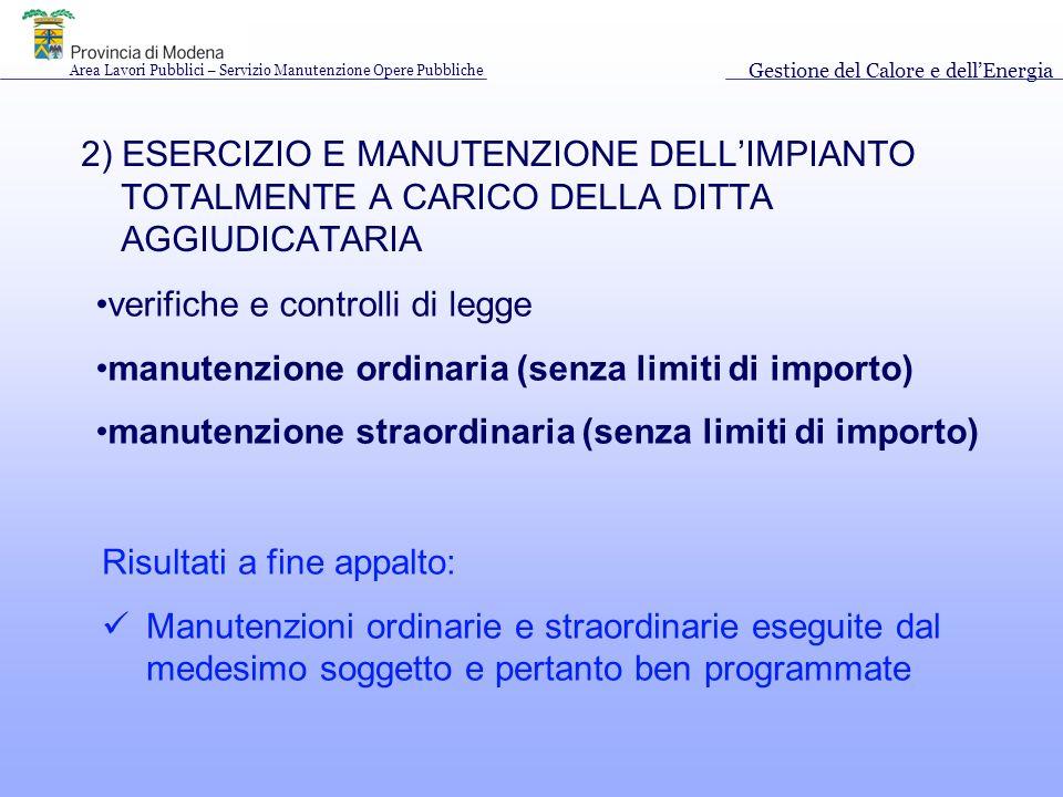 2) ESERCIZIO E MANUTENZIONE DELLIMPIANTO TOTALMENTE A CARICO DELLA DITTA AGGIUDICATARIA verifiche e controlli di legge manutenzione ordinaria (senza limiti di importo) manutenzione straordinaria (senza limiti di importo) Risultati a fine appalto: Manutenzioni ordinarie e straordinarie eseguite dal medesimo soggetto e pertanto ben programmate Area Lavori Pubblici – Servizio Manutenzione Opere Pubbliche Gestione del Calore e dellEnergia