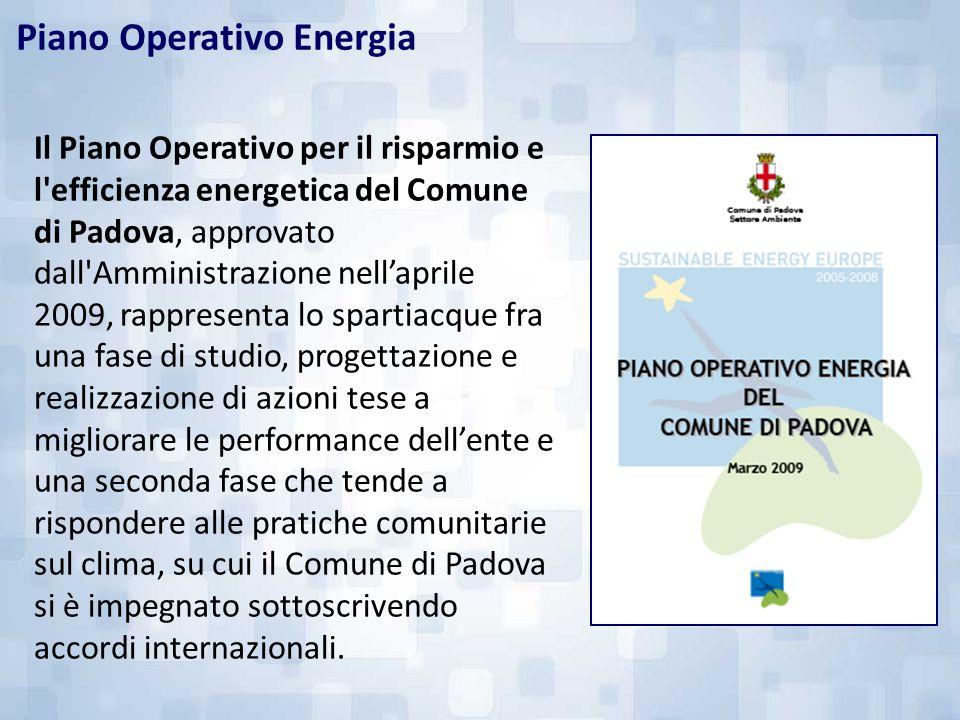 Il Piano Operativo per il risparmio e l'efficienza energetica del Comune di Padova, approvato dall'Amministrazione nellaprile 2009, rappresenta lo spa