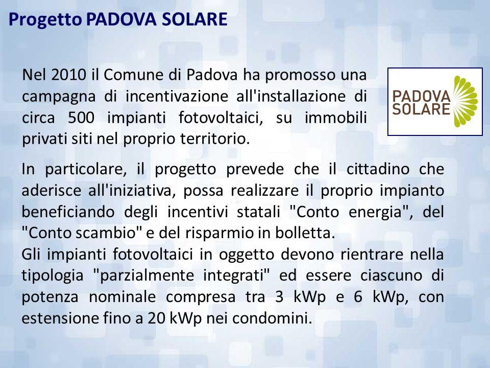 Progetto PADOVA SOLARE Nel 2010 il Comune di Padova ha promosso una campagna di incentivazione all'installazione di circa 500 impianti fotovoltaici, s