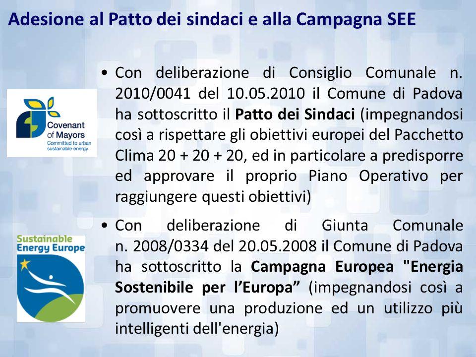 Con deliberazione di Consiglio Comunale n. 2010/0041 del 10.05.2010 il Comune di Padova ha sottoscritto il Patto dei Sindaci (impegnandosi così a risp