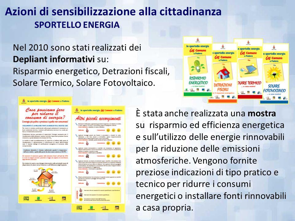 Nel 2010 sono stati realizzati dei Depliant informativi su: Risparmio energetico, Detrazioni fiscali, Solare Termico, Solare Fotovoltaico. È stata anc