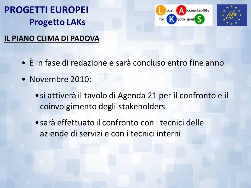 PROGETTI EUROPEI Progetto LAKs IL PIANO CLIMA DI PADOVA È in fase di redazione e sarà concluso entro fine anno Novembre 2010: si attiverà il tavolo di