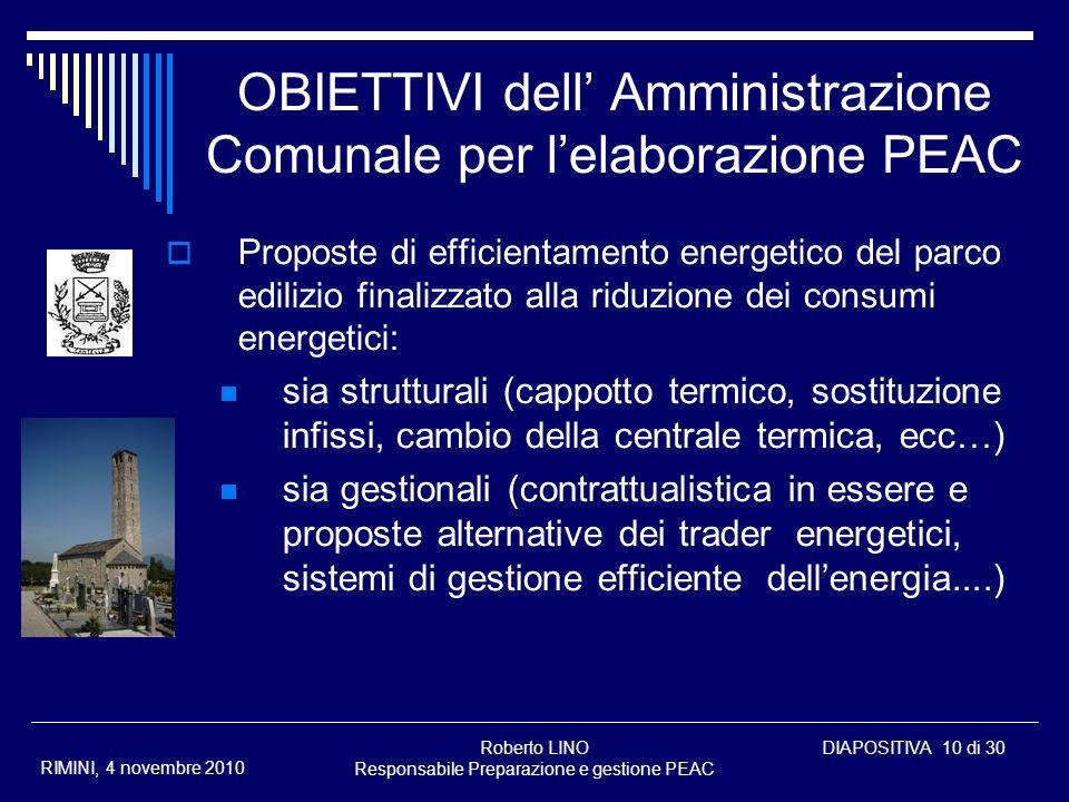 Roberto LINO Responsabile Preparazione e gestione PEAC DIAPOSITIVA 10 di 30 RIMINI, 4 novembre 2010 OBIETTIVI dell Amministrazione Comunale per lelabo