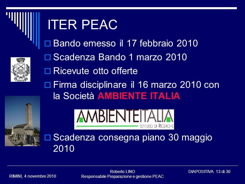 Roberto LINO Responsabile Preparazione e gestione PEAC DIAPOSITIVA 13 di 30 RIMINI, 4 novembre 2010 ITER PEAC Bando emesso il 17 febbraio 2010 Scadenz