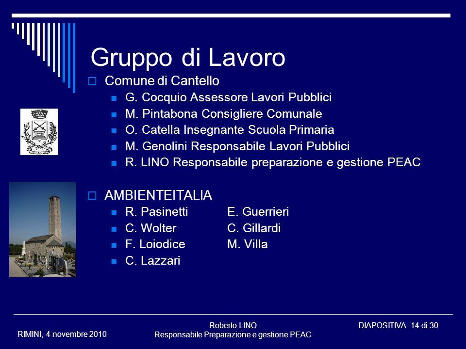 Roberto LINO Responsabile Preparazione e gestione PEAC DIAPOSITIVA 14 di 30 RIMINI, 4 novembre 2010 Gruppo di Lavoro Comune di Cantello G. Cocquio Ass