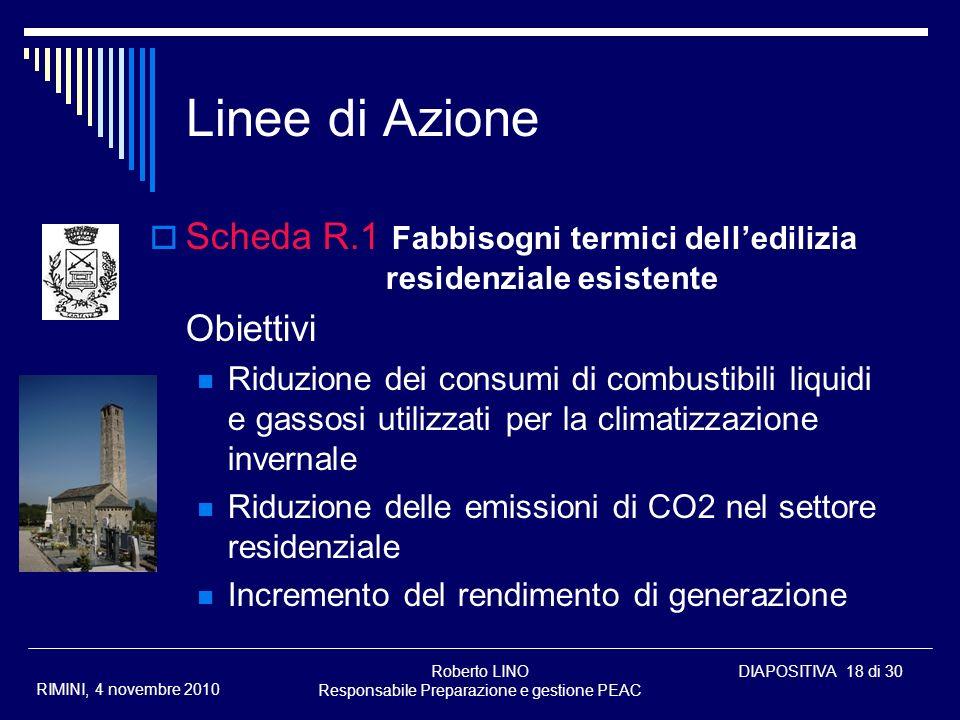 Roberto LINO Responsabile Preparazione e gestione PEAC DIAPOSITIVA 18 di 30 RIMINI, 4 novembre 2010 Linee di Azione Scheda R.1 Fabbisogni termici dell