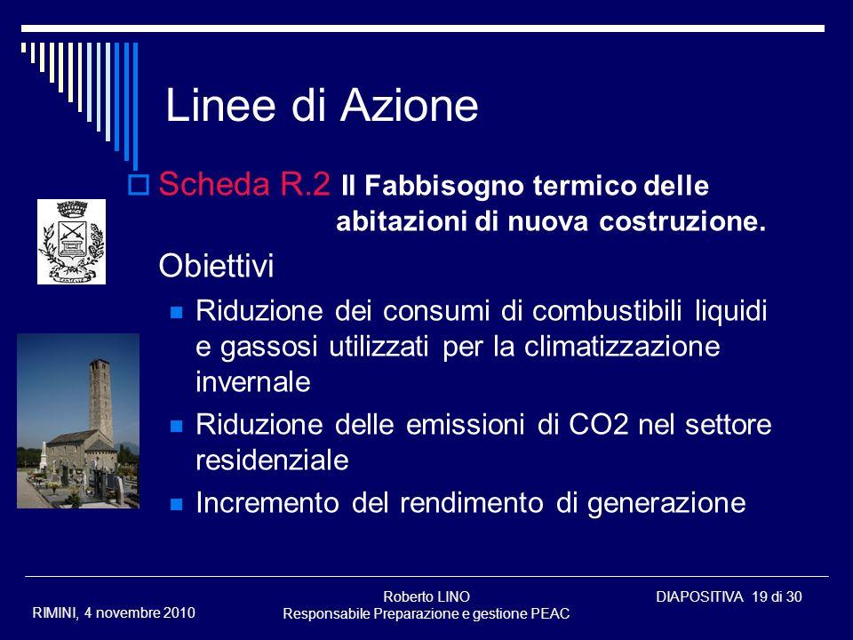 Roberto LINO Responsabile Preparazione e gestione PEAC DIAPOSITIVA 19 di 30 RIMINI, 4 novembre 2010 Linee di Azione Scheda R.2 Il Fabbisogno termico d