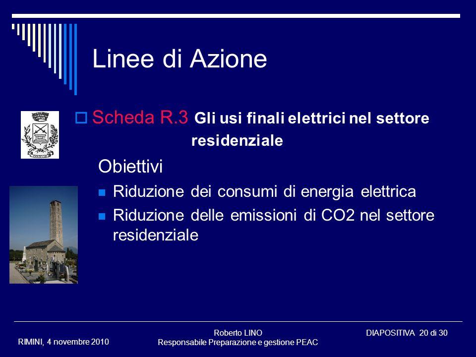 Roberto LINO Responsabile Preparazione e gestione PEAC DIAPOSITIVA 20 di 30 RIMINI, 4 novembre 2010 Linee di Azione Scheda R.3 Gli usi finali elettric