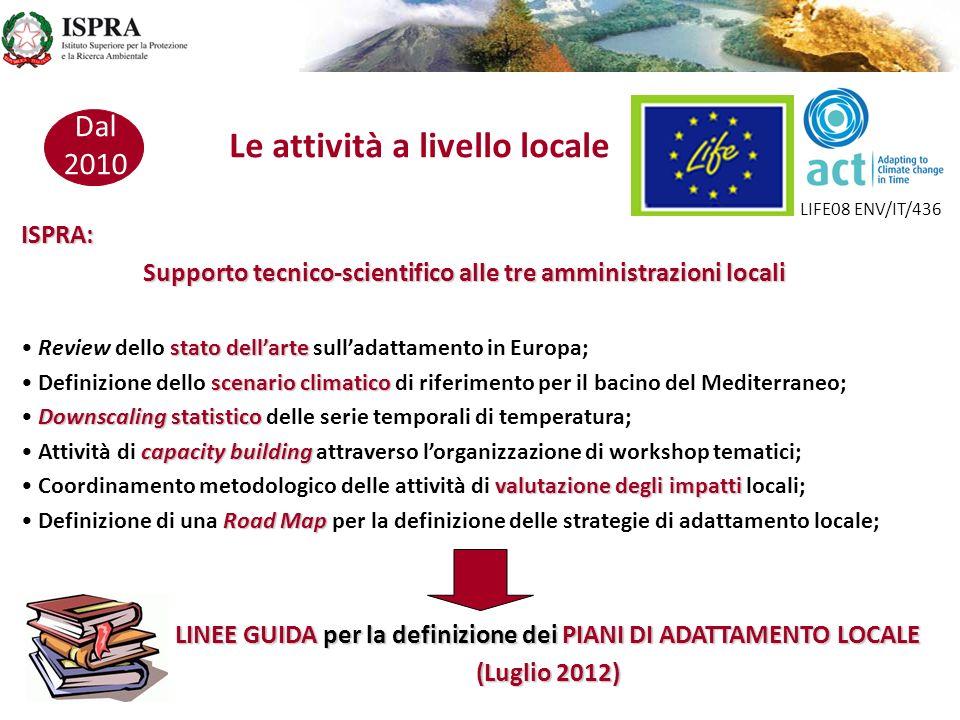 Dal 2010 ISPRA: Supporto tecnico-scientifico alle tre amministrazioni locali stato dellarte Review dello stato dellarte sulladattamento in Europa; sce