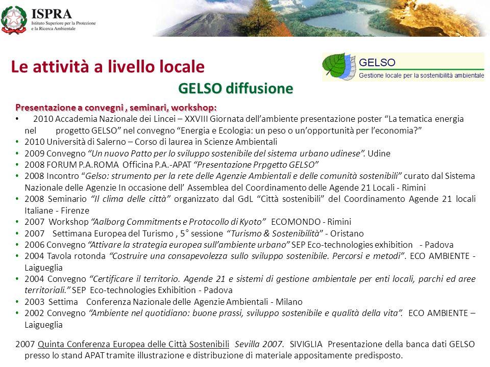 GELSO diffusione Presentazione a convegni, seminari, workshop: 2010 Accademia Nazionale dei Lincei – XXVIII Giornata dellambiente presentazione poster