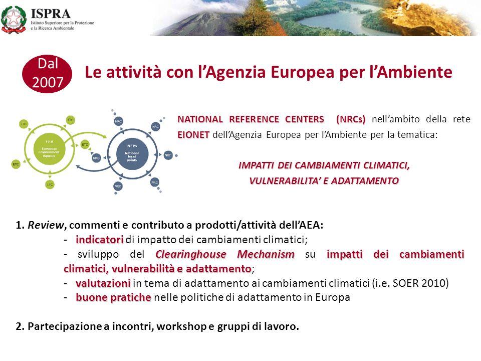 Le attività nellambito della rete delle Agenzie Ambientali Europee 2007 GRUPPO DI INTERESSE GRUPPO DI INTERESSE delle Agenzie Europee per lAmbiente sull ADATTAMENTO AI CAMBIAMENTI CLIMATICI documenti 1.Preparazione di documenti condivisi a supporto delle attività di EC e EEA; Clearinghouse Mechanism 2.Supporto alla predisposizione ed allo sviluppo del Clearinghouse Mechanism su impatti dei cambiamenti climatici, vulnerabilità ed adattamento; indicatori iniziative nazionali 3.Gruppo di discussione su indicatori di vulnerabilità, impatto ed adattamento; scambio di esperienze ed informazioni sulle iniziative nazionali (i.e.